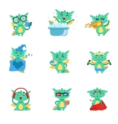 Little dragon everyday activities and emotions set vector