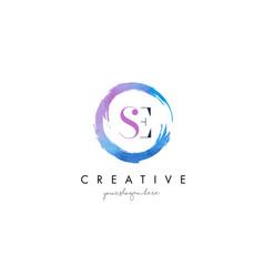 se letter logo circular purple splash brush vector image vector image