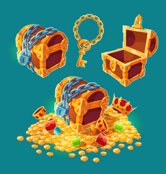 collection of wooden chests with treasures of gold vector image