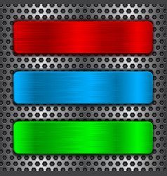 colored metal plates on perforated background vector image vector image