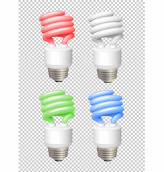 different color lightbulbs on transparent vector image vector image