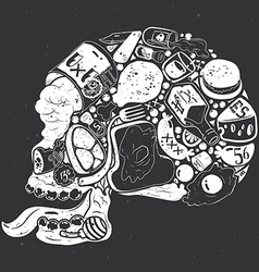 Figure skull of food collage vector image vector image