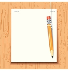 Hanging pencil by the paper sheet vector image vector image
