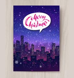 night cityscape christmas postcard design vector image vector image