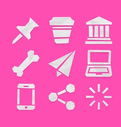 Paper cut icons for applications set 7 vector