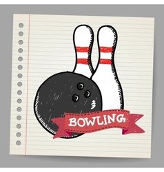 Sketch bowling vector image