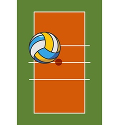 Volleyball field and ball Game ball high above vector image