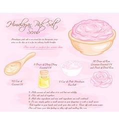 hand drawn of hymalayan pink rose salt scrub vector image
