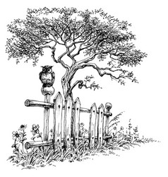 owl sitting on a wooden fence rural landscape vector image vector image