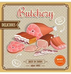 Retro meat poster vector image vector image
