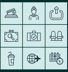 set of 9 airport icons includes appointment vector image