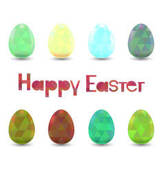set of easter eggs with polygonal ornament vector image vector image