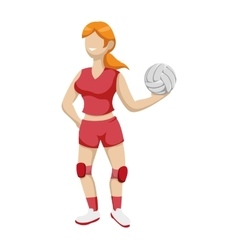 Volleyball and cartoon girl icon Sport concept vector image
