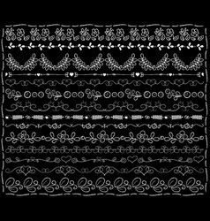 white chalk floral borders on black board wedding vector image vector image