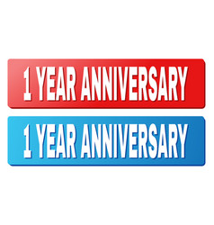 1 year anniversary title on blue and red rectangle vector