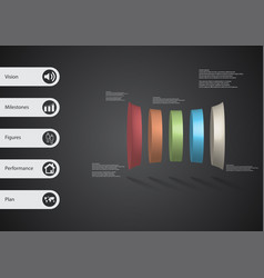 3d infographic template with five deformed vector