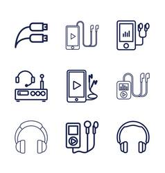 9 headphones icons vector