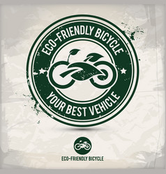 alternative eco friendly bicycle stamp vector image