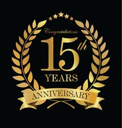 Anniversary golden laurel wreath 15 years 2 vector