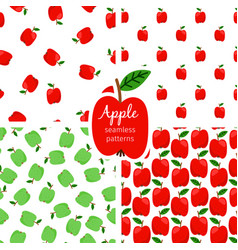 Apple seamless pattern green and red fruits vector