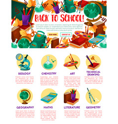 Back to school education site template vector