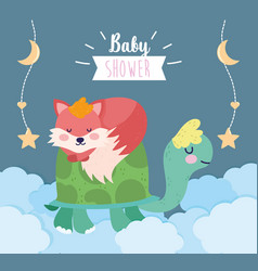 bashower cute turtle and sleeping fox clouds vector image