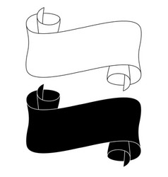 black and white ribbon scrolls outline icons vector image