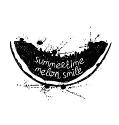 Black and white with slice of melon vector