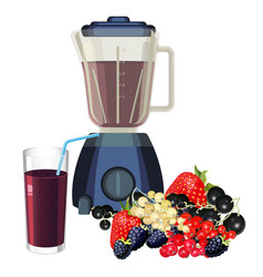 Blender and glass of smoothie made of healthy vector