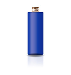 blue cosmetic cylinder bottle with copper lid vector image
