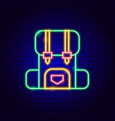 camping backpack neon sign vector image