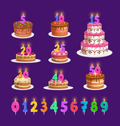 Candles birthday cake with number age celebration vector