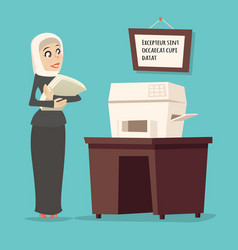 Cartoon arab businesswoman tradidcional female vector