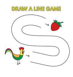 cartoon rooster draw a line game for kids vector image