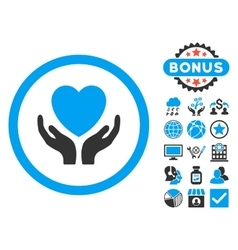 Charity Hands Flat Icon with Bonus vector image