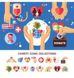 Charity infographic set vector