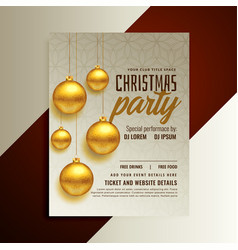 christmas party poster design with golden balls vector image