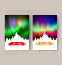 Christmas postcard designs with northern lights vector