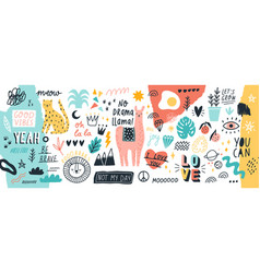 collection of handwritten slogans or phrases and vector image