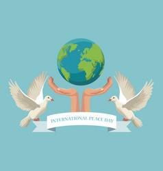color poster hands holding a earth world with pair vector image