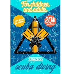 Color vintage diving poster vector image