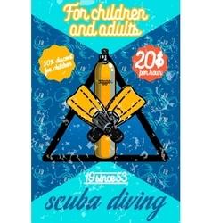 Color vintage diving poster vector