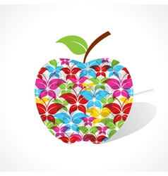 Colorful butterfly make a apple vector image