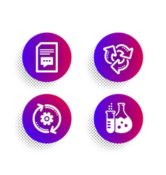 Comments cogwheel and recycle icons set vector
