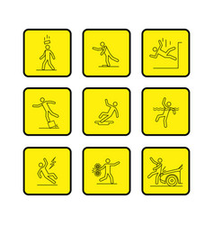 common accidents signs black thin line icon in box vector image
