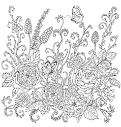 curls and flowers vector image