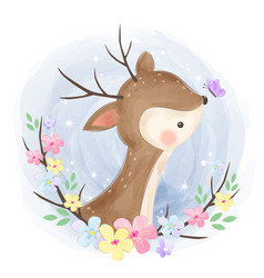 Cute deer playing with butterfly vector