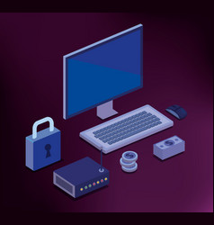 cyber security isometrics icons vector image