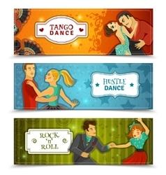 Dance Vintage Horizontal Flat banners Set vector image