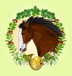 Dark brown Horse head of stallion vector image